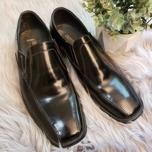 STACY ADAMS BLACK LEATHER SQUARE TOE LOAFERS SZ 10